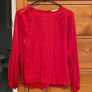 H&M red long sleeve rayon blouse top